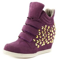 Studded Triple Strap Wedge Sneaker: Charlotte Russe