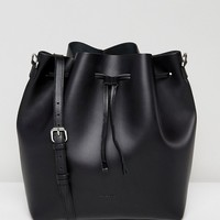 Sandqvist Marianne Black Leather Drawstring Shoulder Bag at asos.com