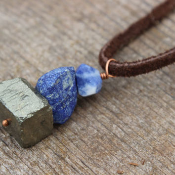 Rock Cairn Necklace, Rock Cairn Pendant, Stone Pendant, Sodalite Lapis Pyrite, Leather or Vegan Cord, Hiker, Rock Climber, Rock Climbing