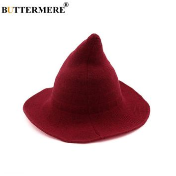 BUTTERMERE Wool Bucket Hat Women Knitting Korean Female Fishing Cap Witch Wide Brim Red Black Navy Ladies Autumn Red Hat