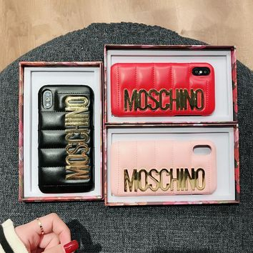 Moschino Fashion Leather Simple Letter iPhoneX/8/6S Hard Phone Case iPhone7 Plus Women Apple Phone Shell
