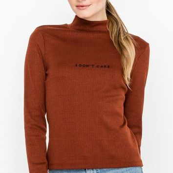 """I Don't Care"" Mock-neck Top"