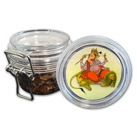 Airtight Stash Jar with Silicone Seal - Ganesh Riding a Lion - Food-Grade Plastic with Locking Wire Top - Smell Proof Hermes Container