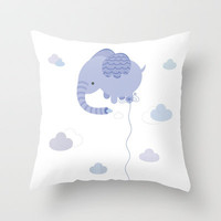 Elephant Cloud Throw Pillow by Esther Ilustra