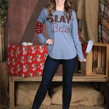 SLAY Bells Tunic With Plaid Elbow Patches