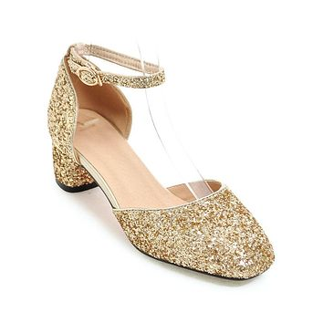 Ankle Strap Sequined Mid Heel Sandals Summer Wedding Shoes 2753
