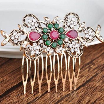 DCCKU62 High Quality Flower Hair Accessories best Bridal Jewelry Antique gold Vintage Hair Clip Hair Combs Bridal Hairwear Bijuterira