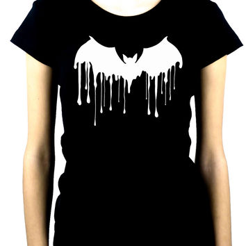 Melting Drip Vampire Bat Women's Babydoll Shirt Gothic Clothing