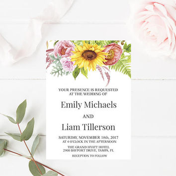 Rustic Shabby Chic Sunflower Wedding Invitation, Floral Wedding Invitation, Printable Wedding Invitation, Wedding Invite, Instant Download,