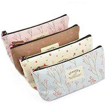 DCCKV2S Three Legs Set of 4 Canvas Pen Pencil Case Stationery Pouch Bag Case Cosmetic Bags for Students Teens Boys and Girls