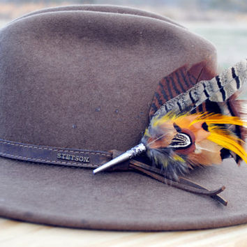 Men's Traditional European Hunting Hat  Feather Pin