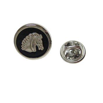 Black and Silver Toned Horse Head Lapel Pin
