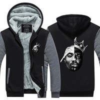 2017 Novelty hoodiesThug life mens hoodie tupac 2pac Hip Pop Streetwear street fashion Thicken fleece coat zipper jacket US Size