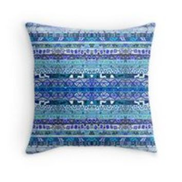 'Faded Blues' Throw Pillow by gretzky