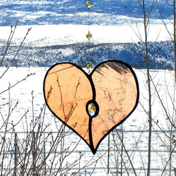 Peach Stained Glass Heart Suncatcher with Clear and Yellow Gem and Beaded Hanger