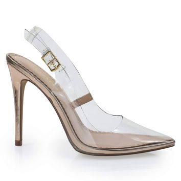 Killa1 Gold By Liliana, Clear, Transparent, Lucite, Perspex Pointed Toe Sling Back Pump