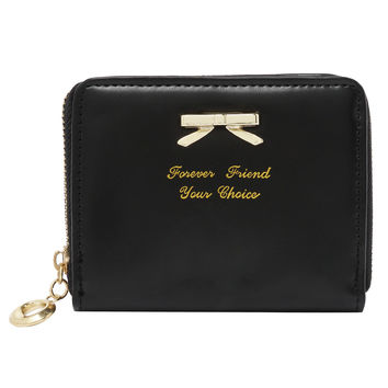 Black Zipper Bow Purse