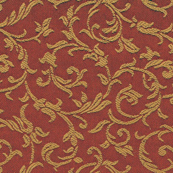 Deep Coral Damask Fabric by the Yard - Coral and Gold Vines and Leaves Woven Designer Fabric