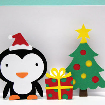 Pop Up Christmas Card - Penguin Card - Penguin Christmas Card