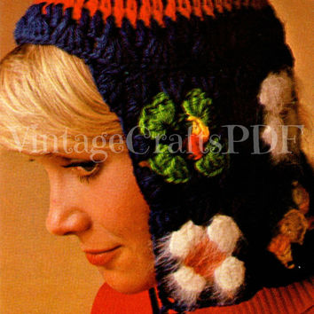 Instant Download-1970s Granny Square Cold Weather Helmet-Vintage Crochet Pattern-Easy Feminine Hat-Retro Ear Flaps-cap bonnet ear warmers