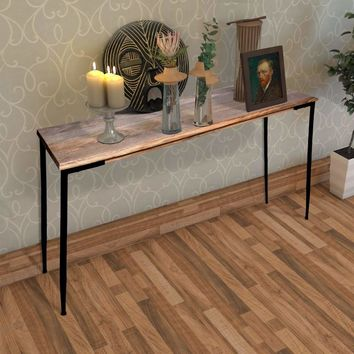 Rectangular Mango Wood Console Table with Tapered Metal Legs, Brown and Black