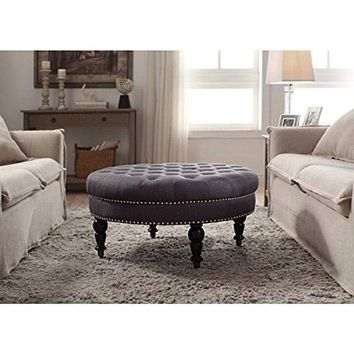 Isabelle Charcoal Round Tufted Ottoman