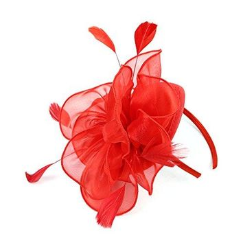 LATIMOON Derby Fascinator Hat Feather Cocktail Tea Party Headwear Dress Accessories Hair Clip for Women and Girls