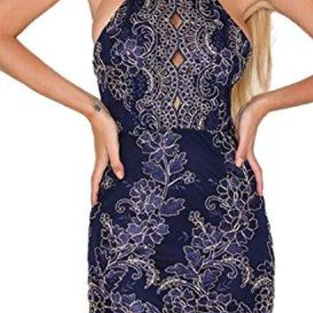 Lace Mini Dress for Women Party Bodycon Spaghetti Strap Halter Floral Cocktail Dress