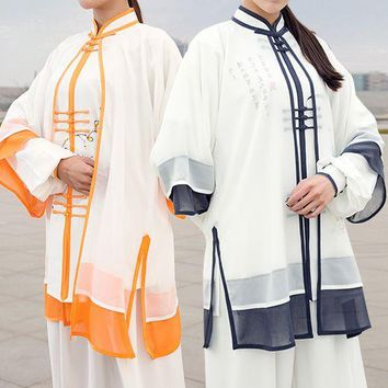 high-grade hand-painted tai chi taiji suits clothing sets&veil kung fu martial arts performance uniform Summer