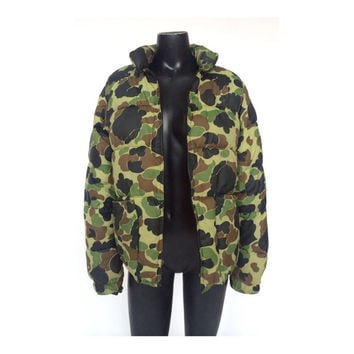 Vintage Camo Print Reversible Puffer Winter Jacket