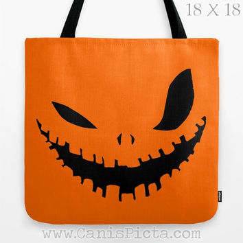 Oogie Boogie Man Monster Nightmare Before Christmas Graphic Print Tote Bag Movie Trick or Treat Halloween Orange Black Evil Grin Autumn Fall
