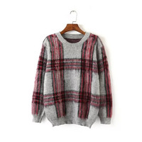 Plaid Knitted Sweater
