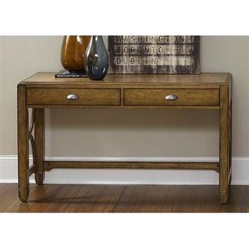 Liberty Furniture Town & Country Sofa Table in Distressed Sandstone w White