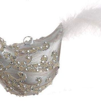 MDIGMS9 7.5' Matte Gray Jeweled Glass Bird with Faux Feather Tail Christmas Ornament