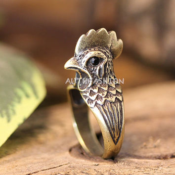 Rooster Ring Chicken Animal theme Jewelry Size 7.5 Women's Girl's Retro Burnished Animal Ring Black Crystal gift idea