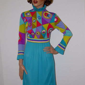 Vintage 1960s Emilio Pucci Silk Jersey Mini Dress with Ruffled Collar xs/s