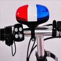 6 Bike Bicycle Police LED Light + 4 Loud Siren Sound Trumpet Cycling Horn Bell L