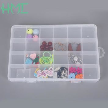 24 Slots Plastic Adjustable Transparent Jewelry Ring Earrings Box Case Portable Organizer Storage Box Travel Bins Best Quality