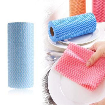 50 Pcs/roll Multipurpose Eco-Friendly High Efficient Cleaning Cloth Wiping Rag Disposable Anti-Oil Towel Cleaning Cloth Kitchen