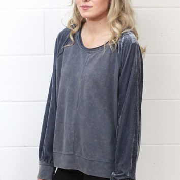 2-Tone Mineral Wash w/ Velvet Sleeves Top {Steel Blue}