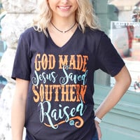 God Made, Jesus Saved, Southern Raised V-neck Tee {D. Grey}