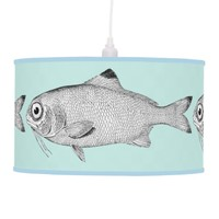 Strange vintage fish drawing pendant lamp