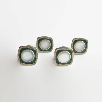 Art Deco Cuff Links, Green Enamel, Mother of Pearl & Silver Tone Metal or Chrome, Signed, SNAP Link, 1920s Fun!