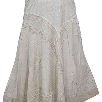 Womens Skirt Maxi Ivory Embroidered Rayon Boho Long Skirts