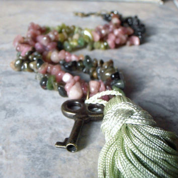 Tourmaline Necklace Beaded Gemstone Multistrand by FiveLittleGems