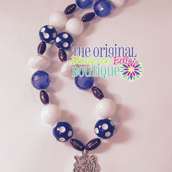 Wildcat football necklace - blue and white wildcat necklace