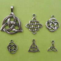 The Celtic Knot Collection - 6 different antique silver tone charms