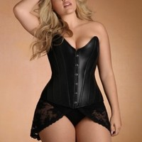 Plus Size Lingerie | Plus Size Leather & Patent | Stella Rose Leather Corset | Hips & Curves