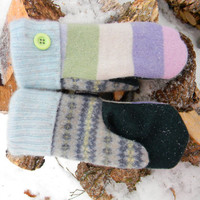 Wool Mittens, Sweater Mittens, Recycled Sweater Mittens, Women's Pink Purple Green Blue Pastel Stripe Reclaimed Made in Wisconsin Angora