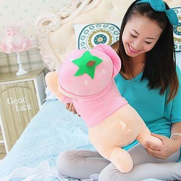 new cute plush strawberry  pig toy cuddly toy stuff lying pink pig doll valentine's day gift about 50cm